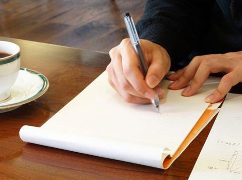 ノートにメモ書き
