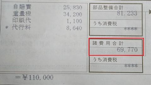 車検費用は約7万円