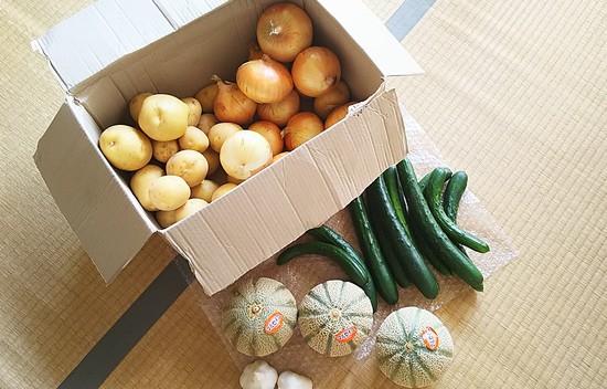 実家から届いた野菜とメロン