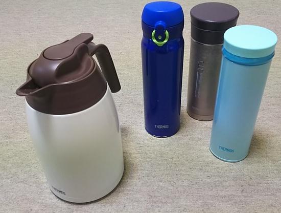 サーモス製のポットと水筒