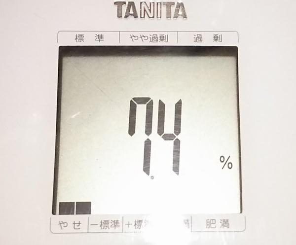 現在の体脂肪7.4%