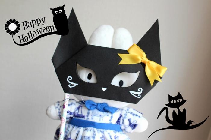 ハロウィン黒猫のお面
